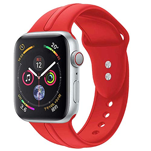 Sundo Sport Band Compatible with Iwatch Band 38mm 40mm Classic Soft Silicone Wrist Strap Bracelet Replacement for iWatch Series 4 Series 3 Series 2 Series 1 S/M M/L(Red 38/40mm M/L)