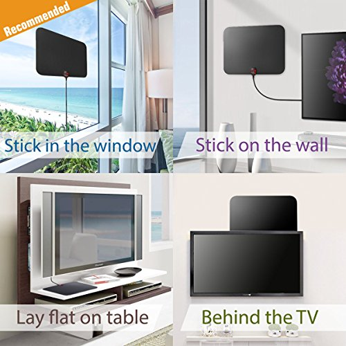UPGRADED 2018 VERSION HD Digital TV Antenna Kit Best 50 Miles Long Range High Definition with HDTV Amplifier Signal Booster for Indoor Amplified 18ft Coax Cable Support All TVs 1080p 4K ready Network Antennas