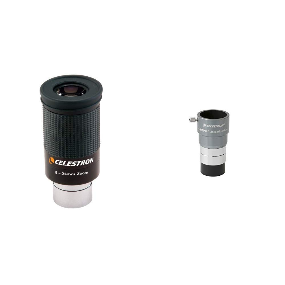 Celestron 93230 8 to 24mm 1.25 Zoom Eyepiece /&  Omni 2X Barlow Lens