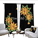 QianHe Blackout Curtains for Bedroom Save The Date Wedding Invitation Card Drapes Panels