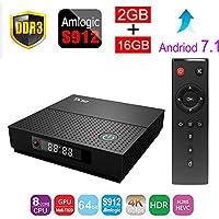 ESHOWEE TX92 Android 7.1 TV BOX Amlogic S912 Octa-core CPU DDR3 2GB RAM 16GB ROM BT 4.0 2.4/5 Dual-Band WiFi 4K UHD & LAN VP9 DLNA H.265