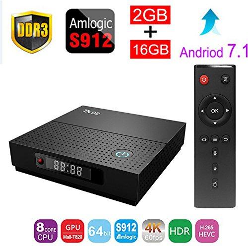 ESHOWEE TX92 Android 7.1 TV BOX Amlogic S912 Octa-core CPU DDR4 2GB RAM 16GB ROM BT 4.0 2.4/5 Dual-Band WiFi 4K UHD & LAN VP9 DLNA H.265