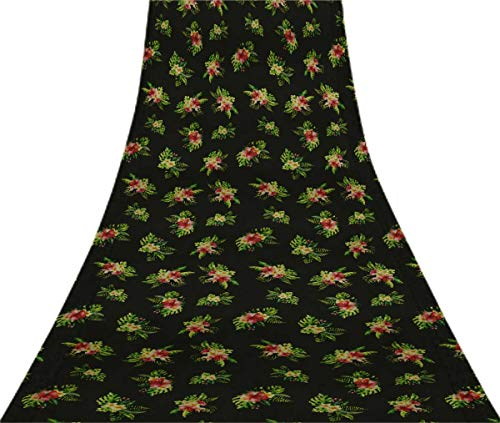 (Svasti Tropical Leaves, Plumeria Floral VintagePure SilkSareeBlack Refurbished Used Craft Fabric Printed Sari 1 Yard)
