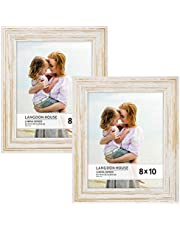 Langdons Picture Frame Set (2 Pack) Solid Wood Photo Picture Frames, Wall Hanging or Table Top, Display Picture Frame Vertically or Horizontally, Lumina Series