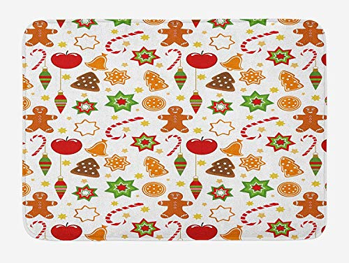 Weeosazg Gingerbread Man Bath Mat, Festive Christmas Icons Graphic Pattern Star Figures Cookies Apples Bells, Plush Bathroom Decor Mat with Non Slip Backing, 31.5 X 19.7 Inches, - Bell Mickey Welcome