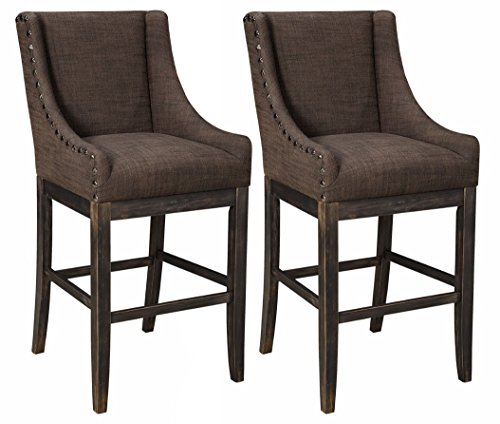 Ashley Furniture Signature Design - Porter Barstool - Rustic Style - Motif Back - Set of 2 - (Scoop Back Bar Stool)