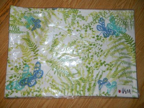 Vera Summer Delight Set of 2 Placemats - Wild Flowers collection - ferns & butterflies blue & green