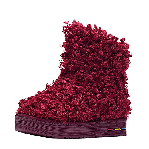 HooH Womne's Cotton Warm Snow Boots 5807 Red
