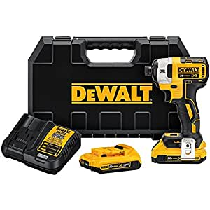 "DEWALT DCF887D2 20V MAX XR Li-ion 2.0 Ah Brushless 0.25"" 3-Speed Impact Driver Kit"