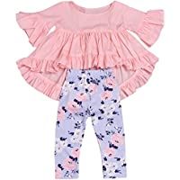 happyma 2pc Baby Girls Outfit Set Pink Ruffle Hem irregular blusa parte superior y pantalones de Floral Ropa