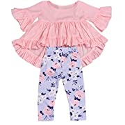 HappyMA 2PC Baby Girls Outfit Set Pink Ruffle Irregular Hem Blouse Top And Floral Pants Clothes, Pink (6-12 Months)