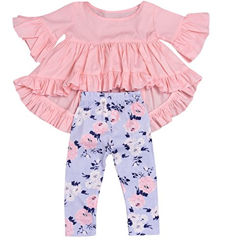 HappyMA 2PC Baby Girls Outfit Set Pink Ruffle Irregular Hem Blouse Top And Floral Pants Clothes, Pink (18-24 Months) Tag 90