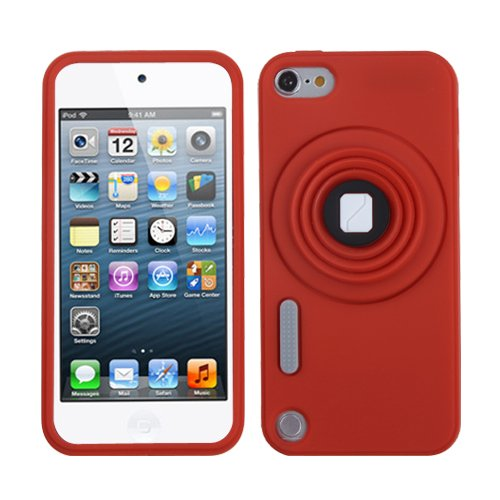 Fits Apple iPod Touch 5 (5th Generation) Soft Skin Case Red Camera Style Stand Pastel with Lanyard (does NOT fit iPod Touch 1st, 2nd, 3rd or 4th - Ipod Touch 1st Generation Battery