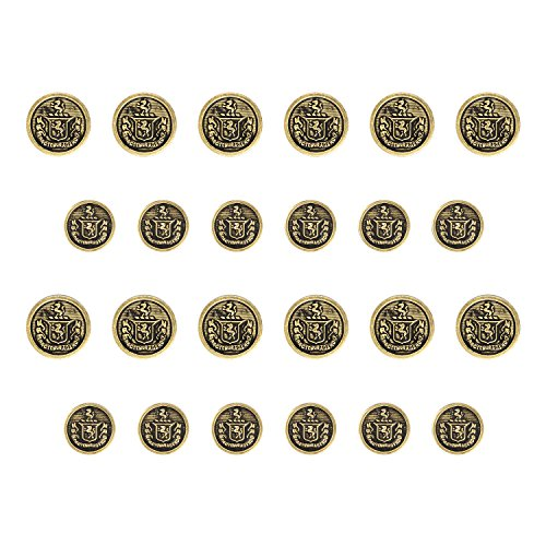 Antique Gold Button (ButtonMode BN524/30AG Lion Crest Design Blazer Buttons, Antique Gold Color Metal, 15mm and 19mm (0.59 and 0.75 Inch) 24-Buttons (12 Front, 12 Sleeve))