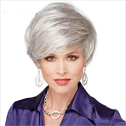 MSHAIR WIGS 2017 Trendy Fashionable Women's Glueless Short Fluffy Silver Grey Synthetic Hair Wigs ()