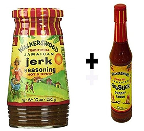 Walkerswood Jamaican Jerk Seasoning 10 Oz- Hot & Spicy+Bonus Firestick Hot Pepper Sauce 3.38oz & Bonus Irie Traders Recipe eBook (Rub Jerk)