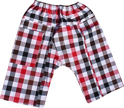 Raan Pah Muang RaanPahMuang Soft Plaid Thai Cotton Childrens Baggy Elastic Waist Low Rider Pants, X-Large, Black Red