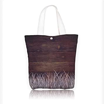 c4d048690a0f Canvas Tote Bag Antique Old Planks American Style Western Rustic Wooden  with thick growth of grass