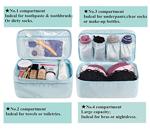 Travel Underwear Organizer, JJ POWER Large Compartment Lightweight Double Layer Cosmetic Bag, Bra Bag for Travel