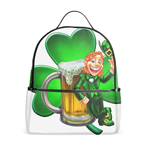 Leprechaun With Beer Travel Backpack School Kids Backpack for Adults
