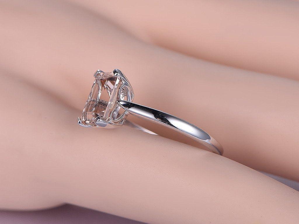 Amazon.com: 7x9mm Emerald Cut Peach Pink Morganite Wedding Ring Set ...