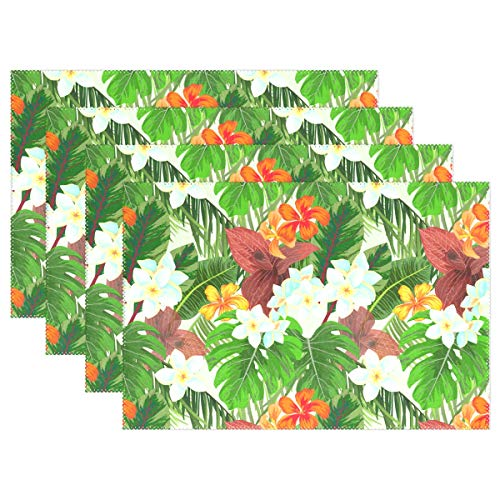 (Toddy Astridd Flower Cluster of Palm Leaves Placemats for Dining Table Set of 1 Heat-Resistant Stain Resistant Kitchen Table Mats Washable Placemat (one Pack) )