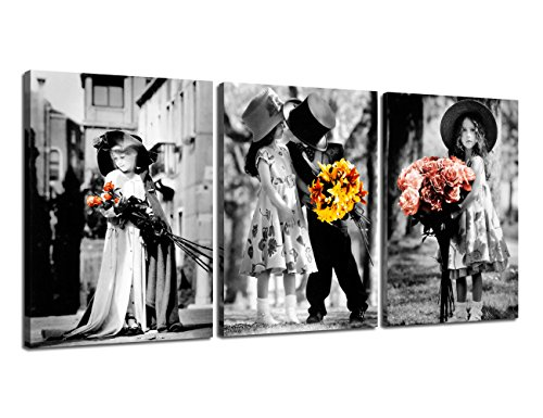 (Painting Canvas Cute Children Love Wall Decor Kim Anderson Photography Pictures Wooden 3 Panel Kids Artwork for Living Room Retro Print Modern Framed Gallery Wrap Artwork Ready to Hang(36''Wx16''H) )