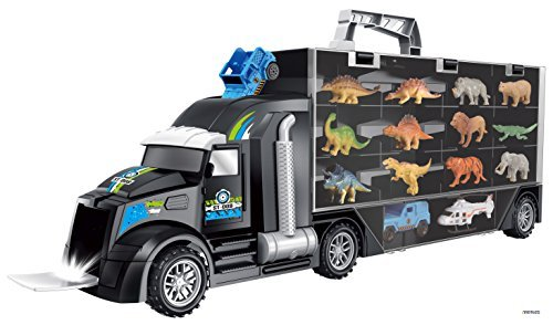 Memtes Dinosaur and Wild Life Animal Safari Car Carrier Transport Truck Toy (Includes 6 Dinosaurs 6 Animal, Jeep and ()