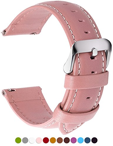Pink Leather Band (12 Colors for Quick Release Leather Watch Band, Fullmosa Axus Genuine Leather Watch Strap 22mm Pink)
