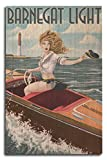 Barnegat Light, New Jersey - Pinup Girl Boating (10x15 Wood Wall Sign, Wall Decor Ready to Hang)