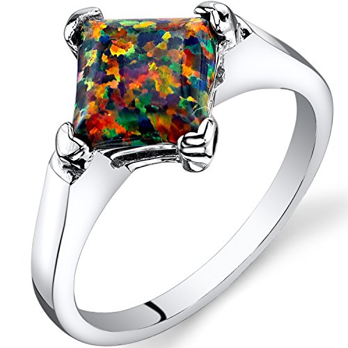 Created Black Opal Princess Cut Solitaire Ring Sterling Silver 1.00 Carat Sizes 5 to 9