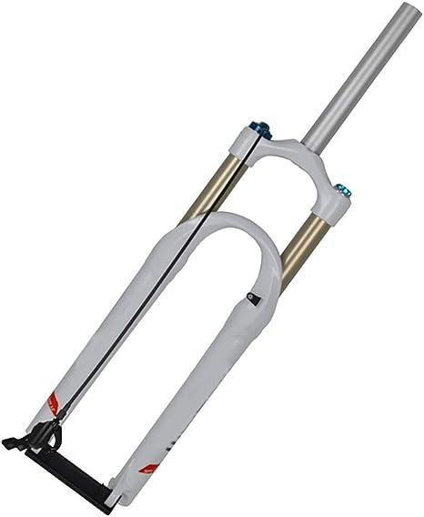 QQKJ Control de Alambre Horquilla de suspensión de presión de Bicicleta de montaña de 26 Pulgadas, Horquilla de Gas de aleación de Aluminio Ultraligera MTB Parte de amortiguación neumática,Blanco: Amazon.es: Deportes y