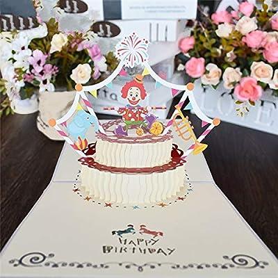 westtreg 10 Pack de Dibujos Animados en 3D Payaso Tarjeta de Feliz cumpleaños Tarjetas Pop UP Tarjeta de Regalo de cumpleaños para niños Negocios con Sobres Tarjetas de felicitación, 10 Tarjetas: Amazon.es:
