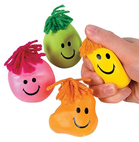 Balls Squeezable (24 Colorful Smiley Face Stress Balls - Squishy, Squeezable Fidget Toy for Kids - High-Quality Materials for Lasting Use - Squeeze Balls Improve Anxiety and ADHD - Great Party Favors or Classroom Toys)