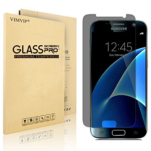 VIMVIP Privacy Anti-Spy Tempered Glass Screen Protector for Samsung Galaxy S7 with 9H Hardness - Protect Your Screen From Scratches Drops and Anti-Spy (Black) (Screen Protect)