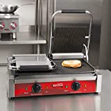 """Avantco P84 Double Commercial Panini Sandwich Grill with Grooved Plates - 18 3/16"""" x 9 1/16"""" Cooking Surface - 120V, 3500W"""