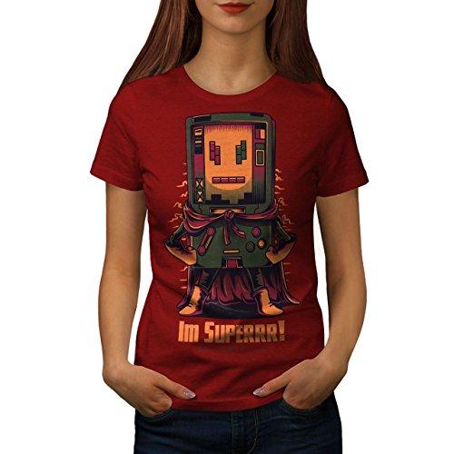 wellcoda Super Hero Console Womens T-Shirt, Boy Cool Casual Design Printed TeeRed -