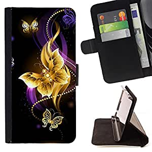 BullDog Case - FOR/Samsung Galaxy S4 IV I9500 / - / butterfly black colorful purple fire /- Monedero de cuero de la PU Llevar cubierta de la caja con el ID Credit Card Slots Flip funda de cuer