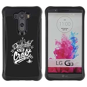 Suave TPU Caso Carcasa de Caucho Funda para LG G3 / Craft Dedication Handicraft Grey White / STRONG