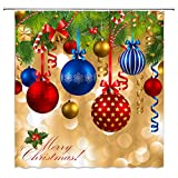 Feierman Merry Christmas Shower Curtain Decor Colorful Balls Hang on Pine Tree New Year Bathroom Curtain Decor Machine Washable Mildew Resistant with Hooks 70x70Inches