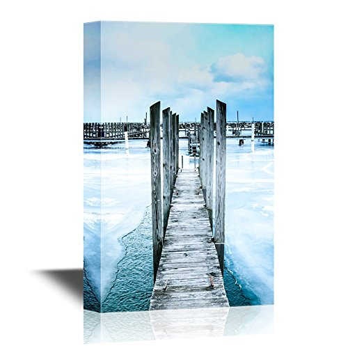 Wood Pier with Frozen Water Gallery