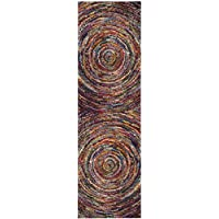 Safavieh Fiesta Shag Collection FSG360M Abstract Art Multicolored Runner Rug (2 3  x 8)