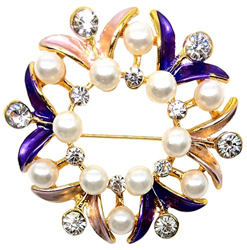 Bijoux De Ja BDJ Gold Tone Hand Painted Enamel Rhinestone Faux Pearl Wreath Brooch Pin (Purple)