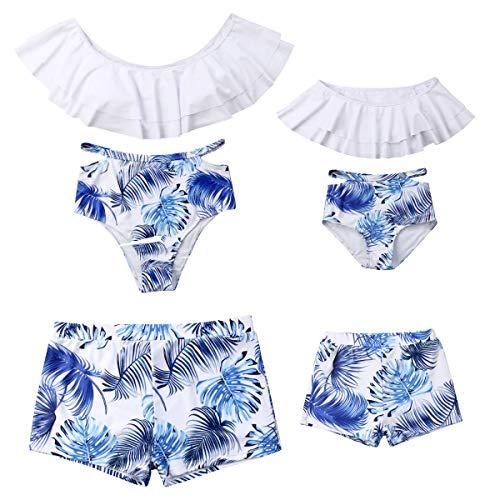 Family Matching Palm Leaf Swimwear Mommy Daddy and Me Swimsuit Parent-Child Bikini Trunks Set Bathing ()