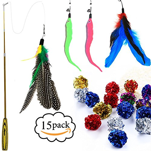 Cat Feather Toy Teaser Wand Crinkle Balls Set - 4 Worm Refills - 10 Mylar Crinkle Balls Cat Toys for Cat Kitty 15 Pack Feather Ball Cat Toy