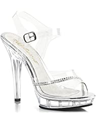 Womens Clear Pageant Shoes with Rhinestone Detail and 5 Inch Clear Heels