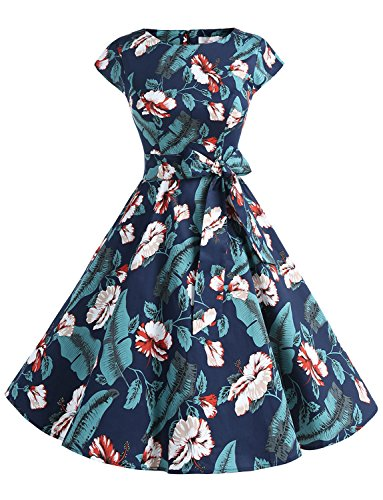 Dressystar DS1956 Women Vintage 1950s Retro Rockabilly Prom Dresses Cap-Sleeve M Leaves Flower