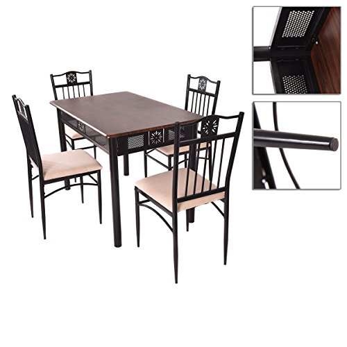 5pcs Dining Table Chairs Set Metal Wood Modern And Upscale Furniture And Sturdy Steel Frame With Powder Coat Finish ALE001A