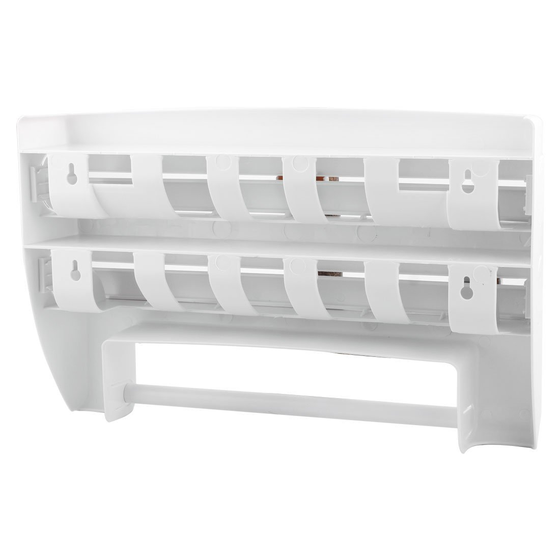 Amazon.com: eDealMax Cocina abrigo del alimento del papel de aluminio Dispensador estante de especia de montaje en pared soporte de papel toalla blanca: ...