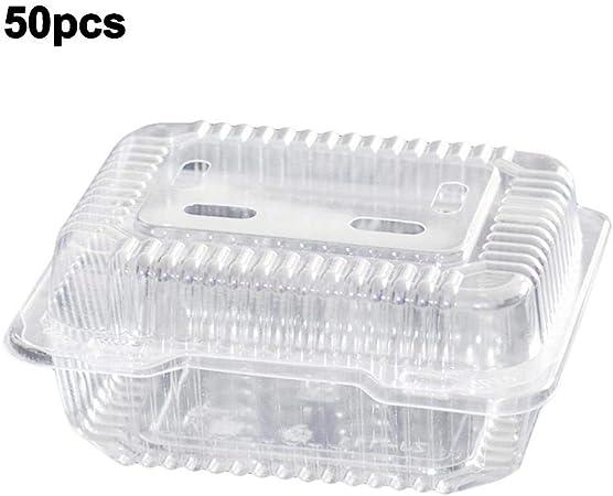 Welltobuy Caja de Fruta desechable Caja de Fruta Cuadrada Recipientes de plástico Transparente para Ensalada Sándwich Vegetales con bisagras Recipiente para Llevar para Ensalada Sándwich Verdura: Amazon.es: Hogar